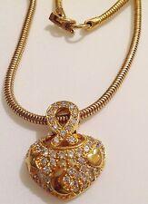 Collier rétro couleur or chaine serpent ronde coeur relief cristaux diamant 415