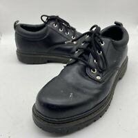 Skechers Men's Low Work Chunky Y2k Lace Black Leather Size 10.5 SN7111 Alley cat