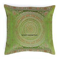 "Dark Green Brocade Mandala Cushion Cover Indian Home Decor Silk Pillow case 16"""