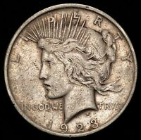 1923-D $1 US Silver Peace Dollar VAM-1AK, Die Break Right of Y - VERY FINE (VF)