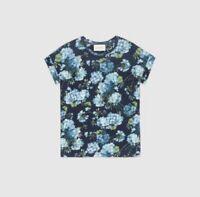 Gucci Blue Bloom 100% Linen Linen Top T-Shirt Blouse Pre Fall 2016 Italy $750