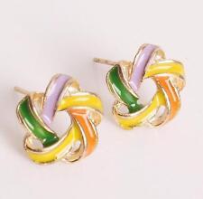Flower Stud Earrings.Pretty Orange Yellow Purple Green Gold Windmill 12mm Across