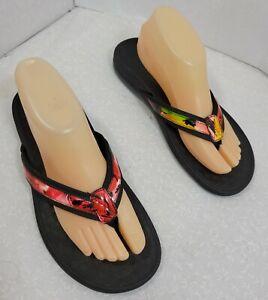 Vionic Womens Slip On Comfort Slip Resistant Multicolor Flip Flop Sandals Size 9