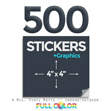 "500 Custom Quality Vinyl STICKERS + FREE Graphics & Shipping (4"" x 4"") Square"