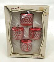Vintage Satin Ball Christmas Ornaments Red Drum Silver Glitter Box Pyramid Lot