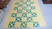 "Older Pieced 75"" x 65"" Geometric Pattern Quilt - Yellows & Greens"