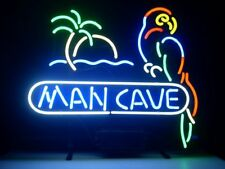"""New Man Cave Bar Parrot Palm Tree Beer Neon Sign 17""""x14"""""""