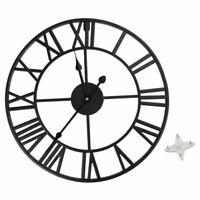 Antique 40/60cm Large Roman Wall Clock Vintage Style Iron Metal Skeleton Numeral