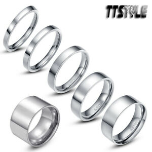TTstyle Silver Stainless Steel Comfort fit Wedding Band Ring 2mm-14mm Size 3-15