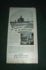 """1941 EDISON VOICEWRITER EDIPHONE PRINT AD """"UP PERISCOPE, UP PRODUCTION"""""""