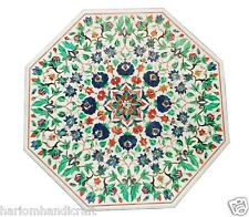 "24""x24"" Marble Coffee Table Top Rare Malachite Stone Mosaic Inlay Work Art H1598"