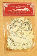 Vintage Kitty Cucumber Baby Die Cut Gift Tag/Ornaments 6 Large