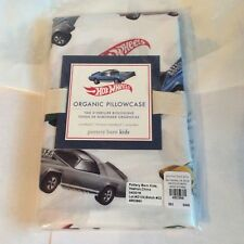 Pottery Barn ORGANIC HOT WHEELS PILLOWCASE Truck car vehicle race boy bed room