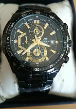 casio EFR-539 chronograph mens watch BLACK DIAL. Black chain watch