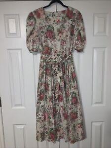 Laura Ashley VTG 100% cotton floral cottage core dress with pockets size 14