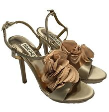 NEW, BADGLEY AND MISCHKA CHAMPAGNE SATIN RUFFLE SANDALS, 6.5, $225