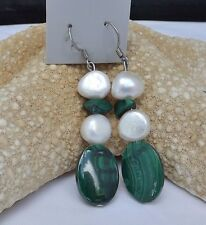 MALACHITE OVAL AND WHITE BAROQUE FRESHWATER PEARL DANGLE EARRINGS NEW