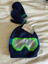 NEW Carter's Baby Boy 2T-4T Hat Glove Set Winter Ski Goggles Navy Green