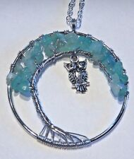 WIRE WRAPPED TREE PENDANT w/ OWL CHARM Adventurine quartz disc ring necklace W5