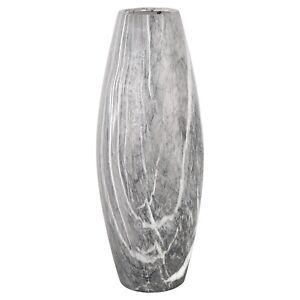Tall Black Marble Effect 41cm Vase Ornament Grey Gift Flower Decor Floral Jug