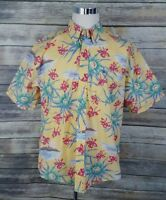 Tommy Hilfiger Men's Size XL Short Sleeve Yellow Floral Hawaiian Shirt