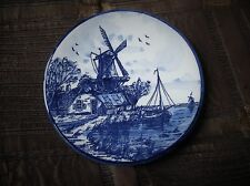 "VINTAGE ROYAL DELFTS BLUE HANDPAINTED MINI DISPLAY PLATE 130002 4"" WINDMILL BOAT"