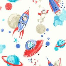 Arthouse Nave Star espacio Hombre Rocket Brillo Childrens Wallpaper Blanco Azul