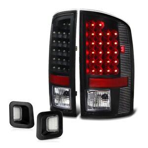 [BLACK] 02-06 Dodge Ram 1500 LED LH+RH Tail Brake Lamp License Plate Tag Light