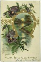 Raphael Tuck? Embossed Undivided Glitter Horseshoe Flowers Birthday Postcard