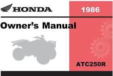 Honda 1986 ATC250R Owner Manual 86