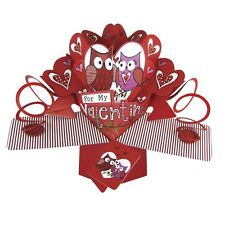 For My Valentine Cute Owls Pop-Up Greeting Card Valentine's Day Pop Up Cards