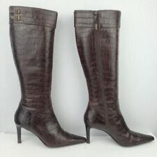 Ralph Lauren Leather Boots Size Uk 4 Eur 37 Womens Sexy Alston Croc Brown Boots