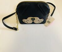 NEW Betsey Johnson bag Black Cross Body Purse handbag shoulder bag puppy design