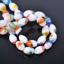 20pcs 8x12mm Mixed Oval Millefiori Glass Loose Spacer Beads Findings Lots