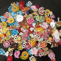 50X Wood Cartoon Animal Wooden Sewing Buttons Kids Sewing Crafts DIY Decoration