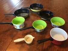 "8 Vintage 1970's Metal Tin Toy Pots & Pans mini 7"" 5"" tiny colander"
