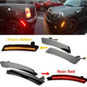4PCS/Set For Mini Cooper 2007-13/14 Smoked Amber/Red Full LED Side Marker Lights