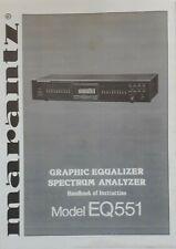 Marantz EQ551 Stereo Graphic Equalizer USER MANUAL & SERVICE MANUAL