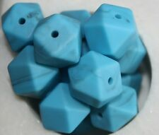 X 15 loose silicone beads Hexagon BPA free 15mm lead free turquoise blue