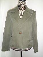 Nine & Co. Weekend Green 100% Cotton Denim Jean Blazer Jacket Size 14