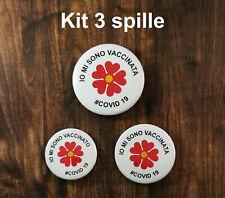 spilla vaccino kit 3 spille io sono vaccinato dimensione 32 mm 37 mm 44 mm badge