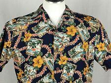 Howie Men's Large Blue Hawaiian Aloha Shirt Matched Pocket Hibiscus Woody Lei
