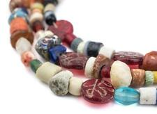 Antique Mixed Mali Bead Medley Long Strand 8mm African Multicolor Glass Handmade