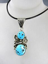 STERLING SILVER TURQUOISE NATIVE AMERICAN STYLE PENDANT