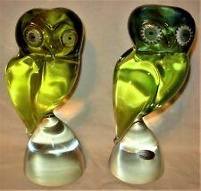 """Rare Salviati Murano Vaseline Uranium Sommerso Italy Art Glass Owls - 8-3/8"""""""