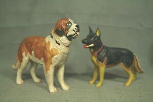 lot 2 vintage old plastic dog model kit St Bernard German Shepherd pyro lindberg