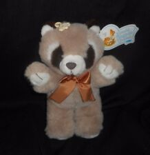 """10"""" VINTAGE CUDDLE WIT BABY BROWN RACCOON STUFFED ANIMAL PLUSH TOY W/ TAG & BOW"""