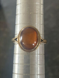 9ct Gold Ladies Ring With Amber Cabochon Mounted.  Beautiful Delicate Ring