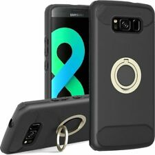 For SAMSUNG GALAXY S8 PLUS Brushed Hybrid Phone Case with Ring Stand - Black