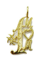 14k Yellow Gold #1 Mom Charm Necklace Pendant ~ 1.0g